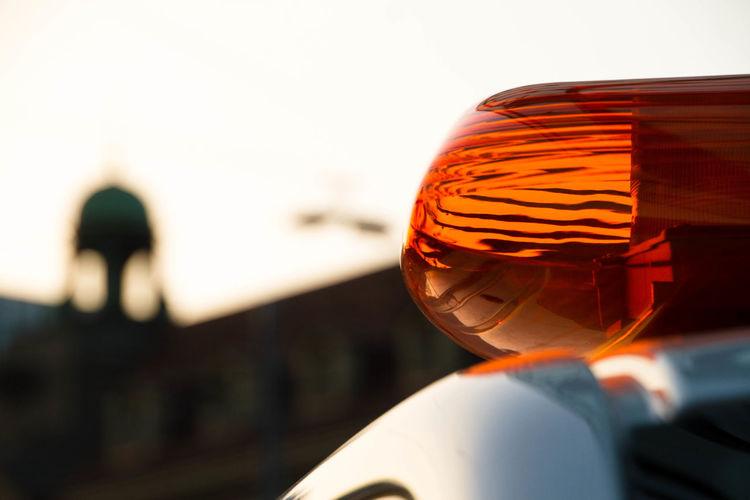 Emergency Light Close-up Focus On Foreground Horn Mode Of Transportation Orange Color Police Car Road Safety Security Selective Focus Siren Transportation