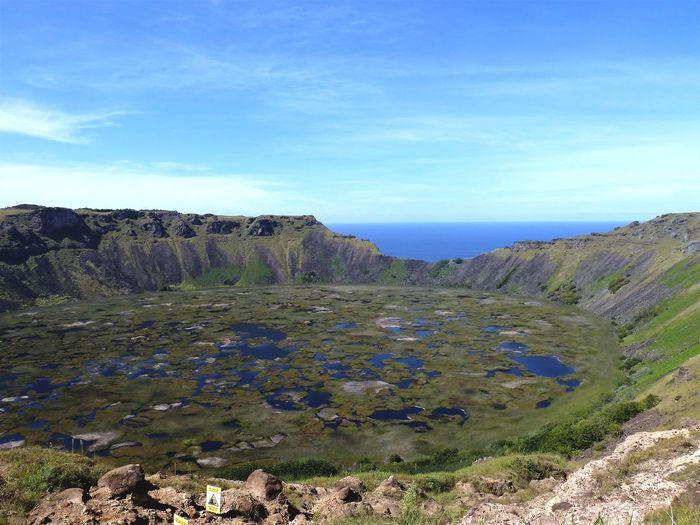 Rano Kau. Crater Lake Easter Island Volcano Crater Volcanic Lake Volcano Landscape Scenics Outdoors Landscape Eye4photography  Travel Destinations EyeEm Gallery EyeEmNewHere EyeEm Best Shots Island View  Islands EyeEm Best Edits Rapa Nui