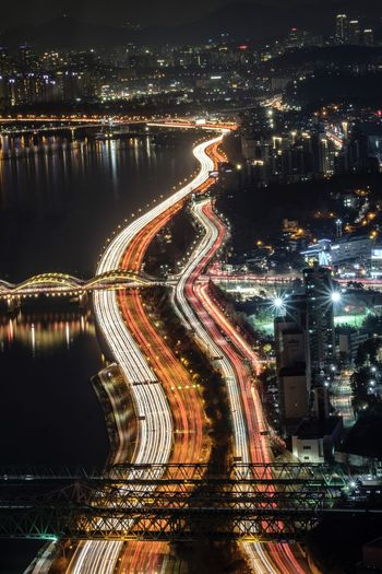 Illuminated Night City Architecture Transportation Water Built Structure Street Road No People Long Exposure Bridge High Angle View