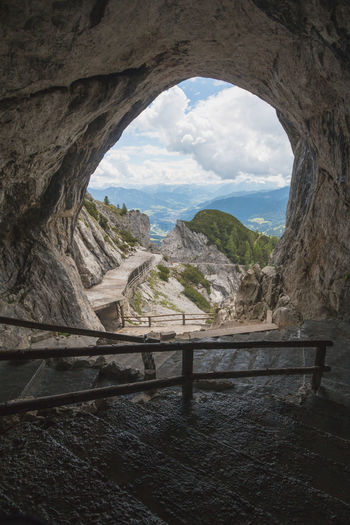 The entrance of the Eisriesenwelt Ice Caves in Austria Austria Eisriesenwelt Entrance View Activity Arch Cave Europe Hike Mountain Rock Salzburg Tour Tourism Werfen