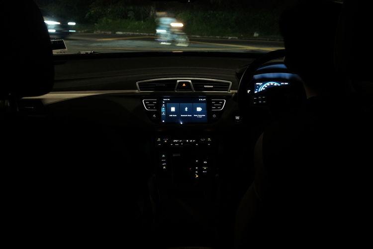 Interior of illuminated car