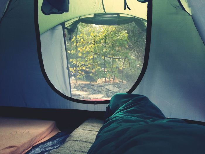Person sleeping under blanket in tent
