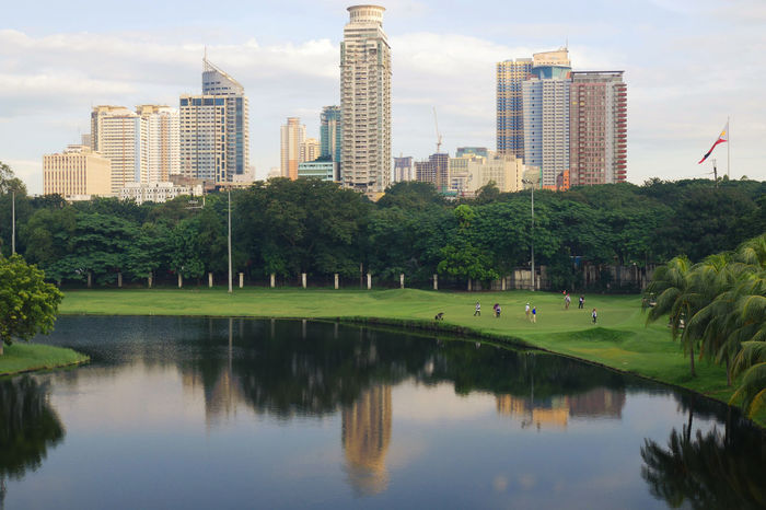 golf Golf Course Reflection Outdoors Manila Cathedral Intramuros Architecture Tree City Water Cityscape