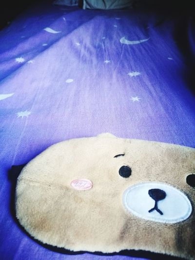 Sleep mask Sleep Mask Bed Sleepy Purple Stars Bedsheets Wrinkled Bed Fluffy Mask Cute Bear Blue Close-up Smiley Face