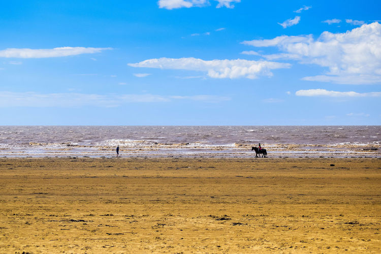 Sea Beach Land Water Sky Sand Nature Day Outdoors Beach Photography Horizon Over Water Leading Lines Space For Text Space For Copy Horizon Scenics - Nature Cloud - Sky Beauty In Nature Real People Lifestyles Non-urban Scene Leisure Activity Tranquility Horse On Beach Horse And Rider