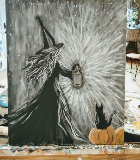 Paintings My Art Halloween Witch Cats Pumpkins Acrylic Painting Fine Art Painting Painted Image Brush Stroke Artist's Canvas