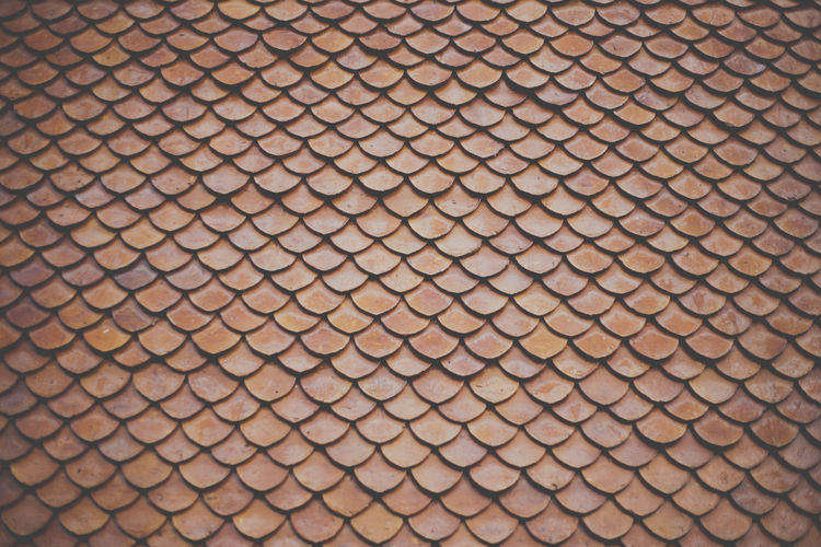 a roof of a Buddhist temple Arrangement Backgrounds Close-up Conformity Full Frame Geometric Shape In A Row Large Group Of Objects No People Pattern Patterned Patterns Repetition Roof Side By Side Terracotta Textures And Surfaces