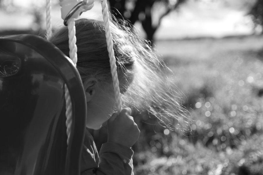 Against Sun Blackandwhite Blond Hair Close-up Girl Hair Litlle Girl Swings