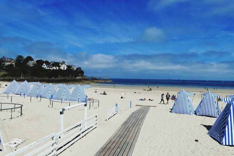 Cloud - Sky Beach Tent Beach Time Beach View Beach Photography Blue Vacations Canopy Sand Beach Striped Sea Sky Dinard Brittany France