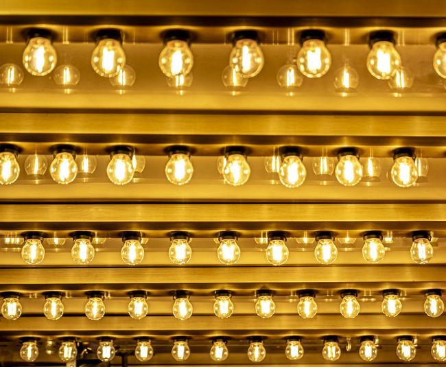 Close-up of illuminated lamps