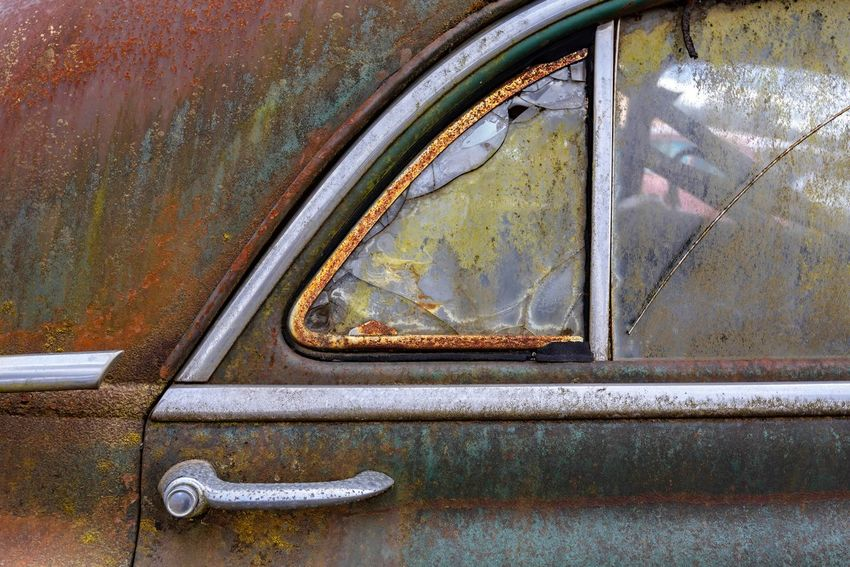 Abandoned Car Car Door Close-up Day Decline Deterioration Land Vehicle Metal Mode Of Transportation Motor Vehicle No People Obsolete Old Reflection Retro Styled Ruined Rusty Silver Colored Transportation Vintage Car