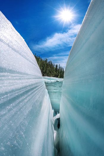 Close-up of glaciers during sunny day