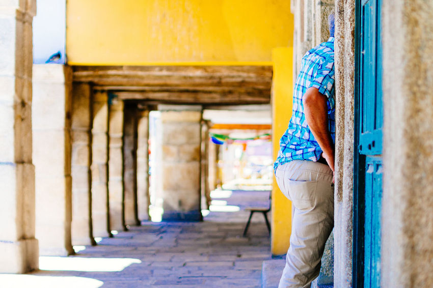 take a look Architectural Column Blue Casual Clothing Column Corridor Day Focus On Foreground From My Point Of View Hikinggalicia Leisure Activity Lifestyles Selective Focus The Way Forward Colour Of Life