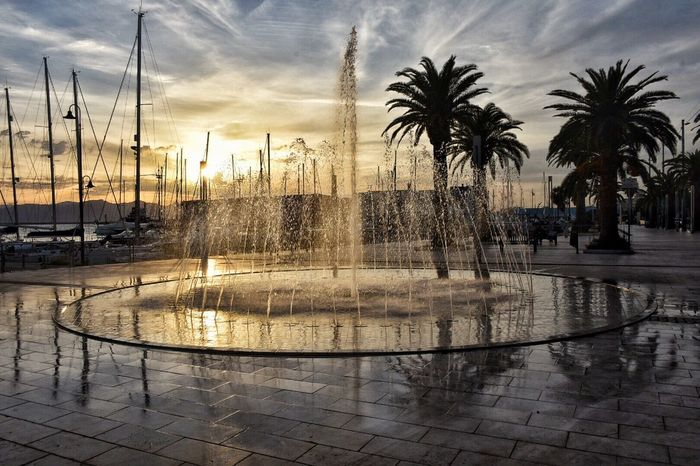 Tree Palm Tree Sky Cloud - Sky Water Outdoors Nature Building Exterior No People City Architecture Day Cagliari, Sardinia Harbor Harbour Fontain Fontana Water Reflections Sunset Tramonto Italian Sunset Boats Barche A Vela