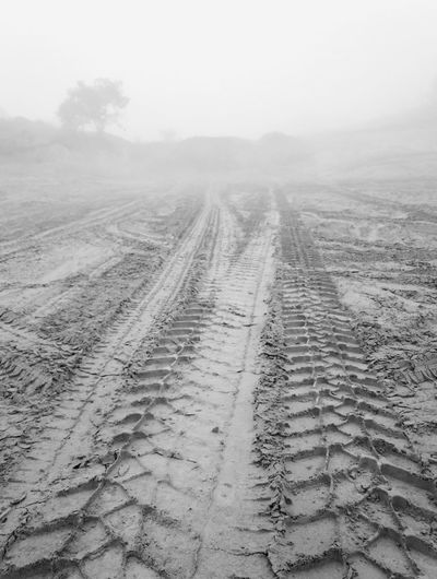 road to nowhere Wheel Tracks Wheel Tracks In The Sand Outdoors No People Day Fog Humans In Nature Alone Time Alone In Nature, Yelt Needing To Share The Experience Silence Morning Blackandwhite Photography Foggy Morning Dreamlike Atmosphere Dreamlikescenery Autumn Morning October Blackandwhite Blackandwhitephotography Cold Temperature Alone Mist Foggy Tracks Foggymorning Foggy Weather Foggymornings Foggyday