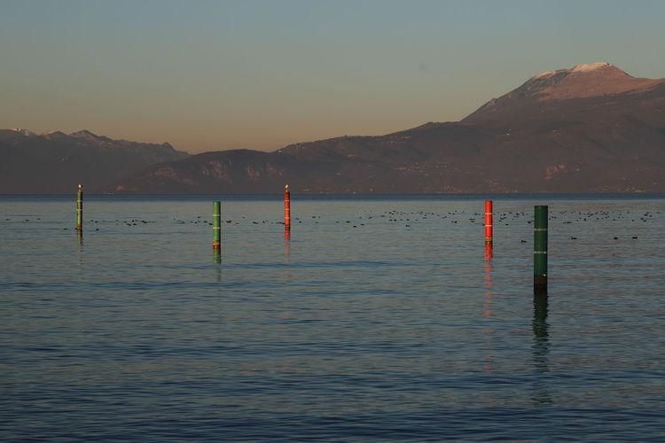 Lago Lago Di Garda, Italy Gabbiani.... Uccelli Volando Azzurro Plant Montagne Blue Sky Tramonto Romantic Sky Italia Colonne