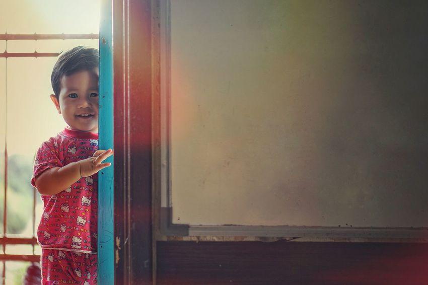 Enjoying Life Happy Girl Cute Females Indoors  Looking Copy Space Portrait Door Window Entrance Women Contemplation Hairstyle