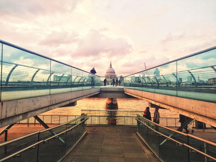another view of St p a u l vanishing point Futuristic Design Reflection Mirror Stripes London Tate Modern Contemporary Concrete Escape Millennium Bridge Exposition EyeEm Best Shots EyeEmNewHere EyeEm Selects Eye4photography  EyeEmBestPics EyeEm Best Edits EyeEm Masterclass Eyem Best Shots City Suspension Bridge Bridge - Man Made Structure Sky Architecture Built Structure Cloud - Sky Footbridge
