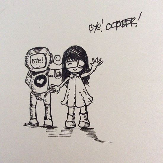 day 31 not feeling well 😂😂😂 Byeoctober Inktober Doodle