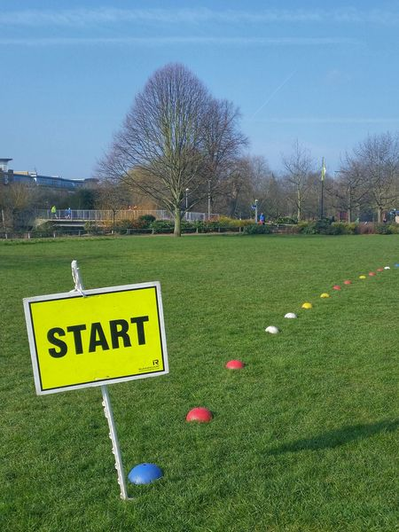 Start Sign on Grassy Field with Coloured Markers Large Tree Blue Sky Starting Line Paint The Town Yellow