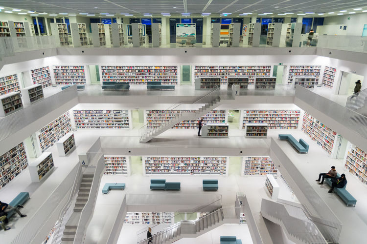 Books Library Ogi Jovic Stuttgart Architecture Bookshelf Built Structure Colores High Angle View Indoors  Library Modern Moderndesign Railing Staircase Steps Steps And Staircases White White Color