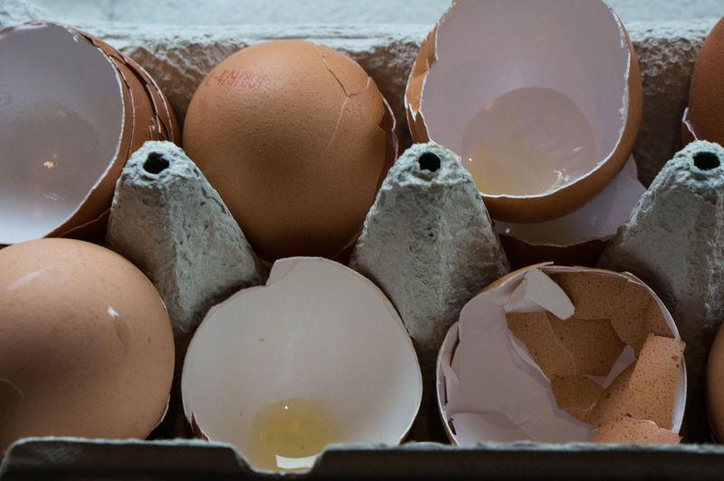 Close-up of broken egg shells