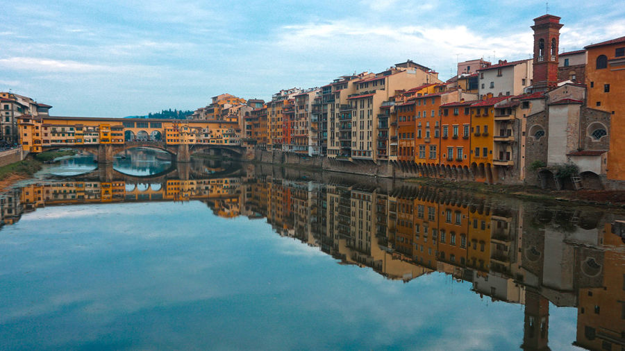 Arno  HDR Tuscany Architecture Bridge Bridge - Man Made Structure Building Exterior Built Structure City Cloud - Sky Clouds And Sky Connection Day Florence Nature No People Outdoors Ponte Vecchio Reflection Sky Water Waterfront Perspectives On Nature