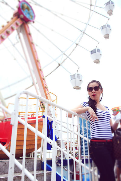 Lady boss. Amusement Park Park Ride Summertime Outdoors Sky Portrait Of A Woman Joy Ride Wifey Stripes Everywhere Ferris Wheel Young Adult Day One Person Philippines Eyeem Philippines EyeEm Gallery Outdoor Fun Colorful Summer Summer Get Up Casual Wear Manila, Philippines Chillout