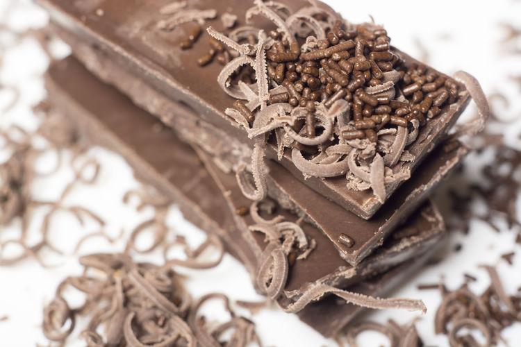 High angle view of various chocolate on table