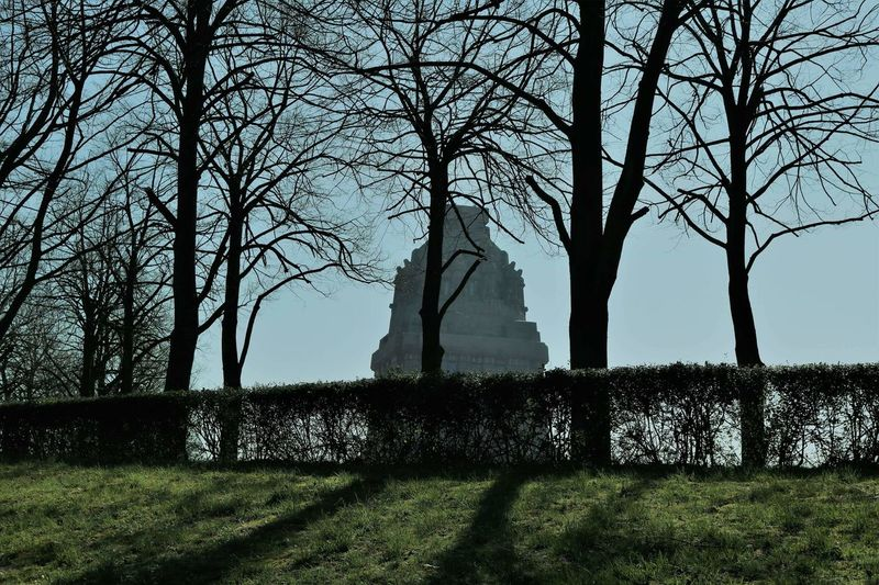 Sightseeing Leipzig Völkerschlachtdenkmal Building Monument Monument Peolple And Places Tree Shadow Bare Tree Sky Grass Landscape