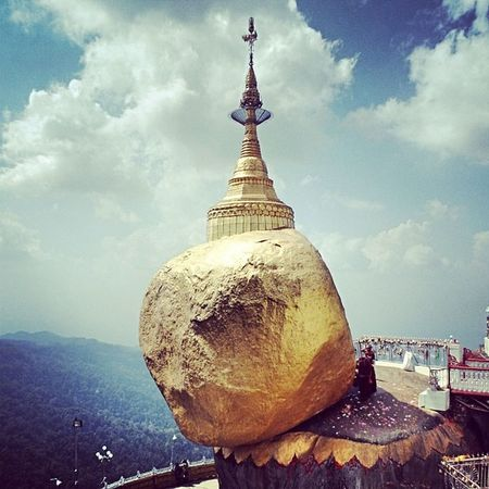 Golden Rock Kyitehteeyoe Goldenrock MonState Myanmar Pagoda Landmark