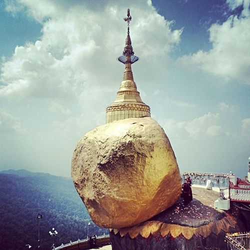 Golden Rock Kyitehteeyoe Goldenrock MonState Myanmar Pagoda Landmark