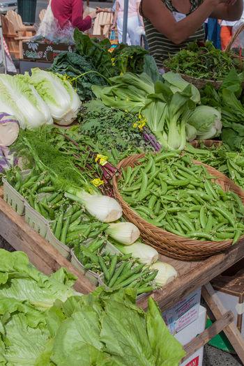 Basket Farm Stand Farmers Market Fennel Freshness Green Color Green Peas Organic Vegetables