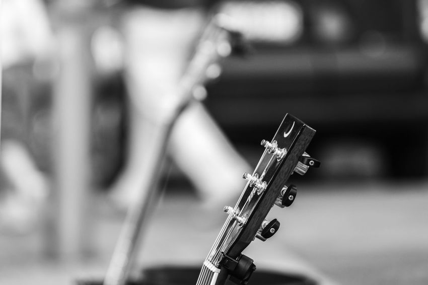 Black & White FUJIFILM X-T10 Backstage Acoustic Black And White Black And White Friday Close-up Concert Day Focus On Foreground Fujifilm Guitar Indoors  Music Musical Instrument Musical Instrument String No People Weapon