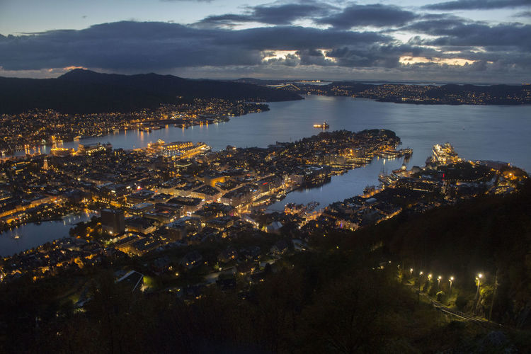 BERGEN AT NIGHT Light Bergen,Norway Cityscape Nightphotography Beautiful My Best Photo Sea Water Beach Illuminated Mountain Sky Calm Seascape Skyline Ocean