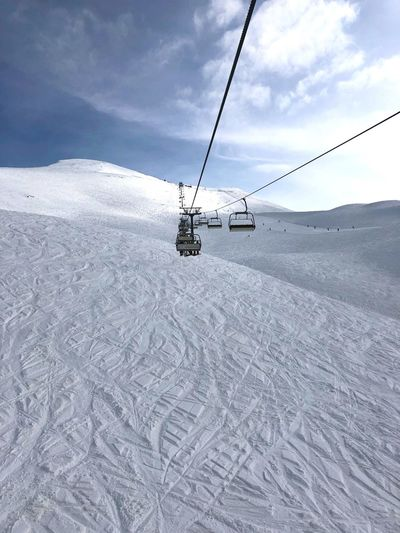 Mountain free-ride Freeride Snowboarding Sky Cloud - Sky Winter Snow Cold Temperature Day Nature Air Vehicle Mountain Ski Lift Land Travel Helicopter Covering