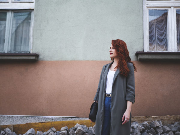 Discover Your City Fashion Green Color Love Red Redhead Romance Travel Adult Architecture Beautiful Woman Beauty Building Exterior Built Structure Casual Clothing Day Europe Explore Lifestyles One Person Outdoors People Standing Young Adult Young Women