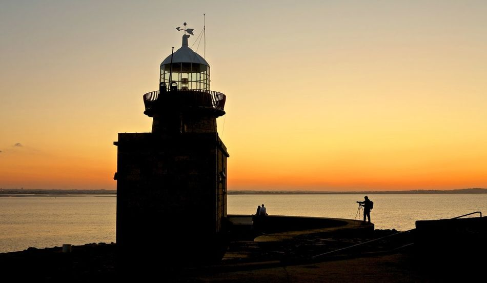 Sunset Lighthouse Building Sunset Irish Ireland