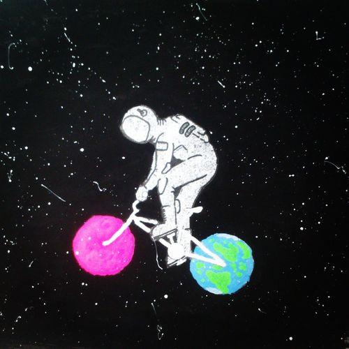 trip to mars Drawing Watercolours Astronaut Galaxy