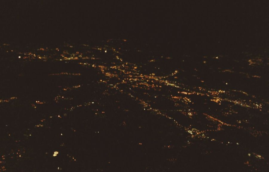 From An Airplane Window Air Travel  Night Flight