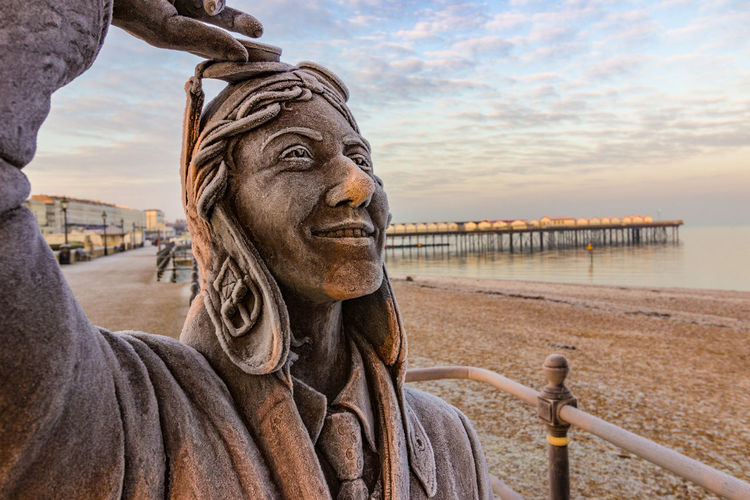 Amy Johnson Statue ,Frost, Sunrise Herne Bay Kent Adult Amy Johnson Beach Close-up Dawn Day Frosty Morning Herne Bay Human Body Part Kent Nature Outdoors People Sky Sunrise Travel Travel Destinations Vacations Vivid International Water