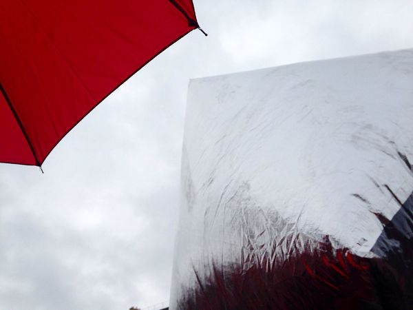 Campaign For Climate Change How Do You See Climate Change? Global Warming Rally Demonstration Paris Red Geometric Shapes Umbrella Shiny