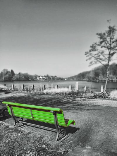 Here Belongs To Me Tranquility Green Bench Blackandwhite Edited Playing With Colours Enlight