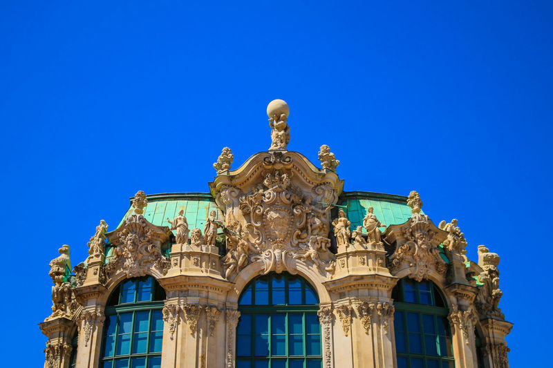 Architecture Blue Building Building Exterior Built Structure Clear Sky Day Drezden History Low Angle View No People Ornate Outdoors Sky Travel Destinations