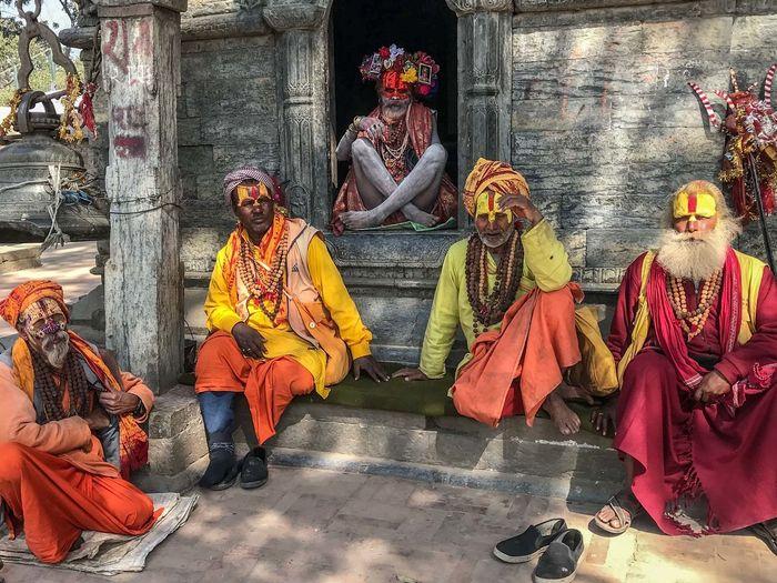 Gathering of Holy Men on the occasion of the Maha Shivaratri Festival, at the Pashupatinath Temple, Kathmandu Nepal Hinduism Celebration Festival Group Of People Holy Place Of Worship Religion Spirituality Traditional Festival