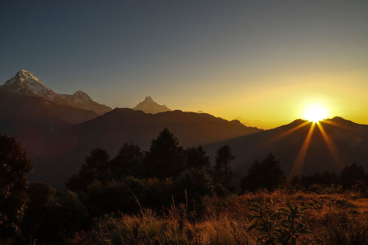 Alba Annapurna Nepal Trekking Nature Love Beauty In Nature Mountain Nature Poon Hill Sunset Tranquility Colour Your Horizn