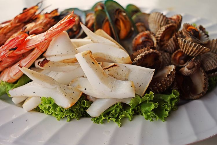Stream seafood Food Food And Drink Freshness Plate Healthy Eating Still Life Ready-to-eat Close-up Wellbeing Indoors  Serving Size Seafood Squid Shrimp Mussels Ark Clam Blood Cockle Blood Clam Stream Thailand
