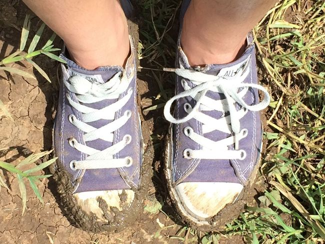 Low Section Shoe High Angle View Human Leg One Person Human Body Part Day Real People Field Outdoors Lifestyles Standing Grass Close-up Converse Converse All Star Chuck Taylor Chucks Chuck Taylors Mud Messy