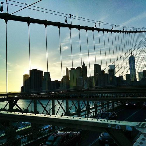 Brooklyn Bridge View. Brooklyn Bridge Newyork Sunset NYC Whitefigure