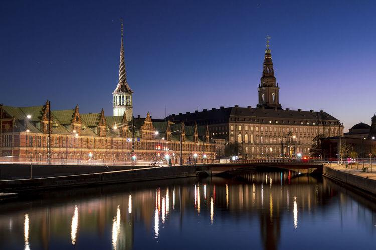 Copenhagen city view at christianborg palace, at dusk